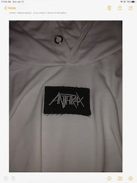 NWOT LOGO WHITE ANTHRAX PULLOVER HOODIE