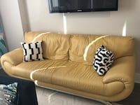 Beautiful genuine leather sofa - Nicoletti - modern with chrome legs Rockville, 20850