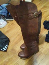 pair of brown leather knee-high boots Edmonton, T5M 0T5