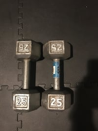 Two 25lbs dumbells