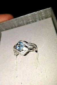6.0mm Cushion-Cut Sky Blue Topaz and Lab-Created White Sapphire Bypass Mississauga, L5B 3S8