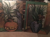 Two black and green flower paintings Douglasville, 30135