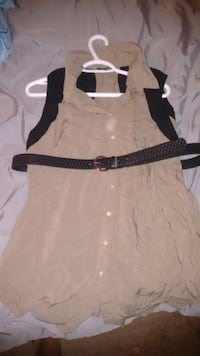 brown button-up sleeveless top with belt