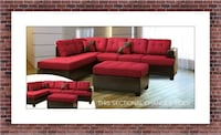 Red sectional free ottoman and delivery Temple Hills