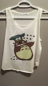 white and brown Totoro print tank top