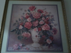 brown wooden framed rose painting
