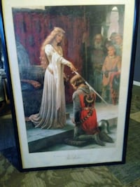 woman in white dress painting with black wooden frame Fresno, 93711