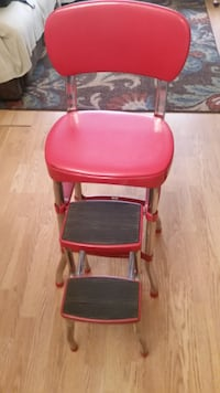 red and black leather padded bar seat null