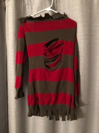 women's red and gray long sleeve top