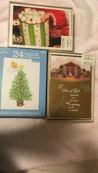 two brass photo frames with 24 value holiday cards box