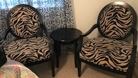 black wooden chair with white and black zebra print pad Brownsville, 78520