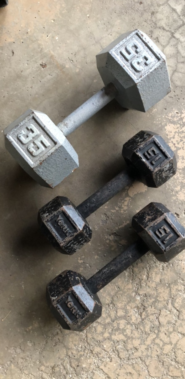 Dumbbells. (1) 35 and (2) 15