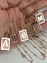 925 Sterling Silver Initial Necklaces (Plated Rose Gold) - FINAL SALE Kitchener, N2E 2A3