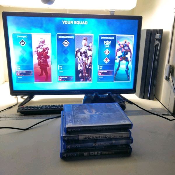 PS4 pro, four games, and TV