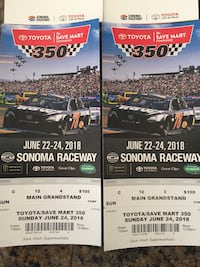 Sonoma NASCAR Sunday tickets main grandstand and pit passes  Westminster, 92683