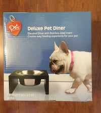 Deluxe Stainless Steel Raised Pet Bowl, NEW, Never Opened (pick up only) Alexandria, 22310