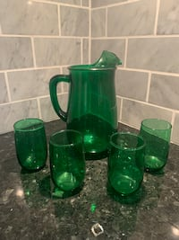 Vintage Anchor Hocking Green Juice Pitcher and Glasses