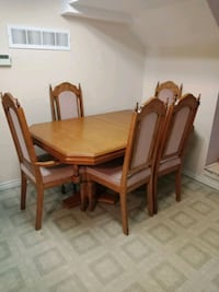 rectangular brown wooden table with six chairs dining set Mississauga, L4T 3P9