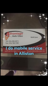 Hi everyone , my name is Rafed , I do auto glass services , I do windshield replacement and any glass in the car, I give very good prices and very good Quality service with lifetime warranty . this is my business card and here are some of my job pictures. New Tecumseth