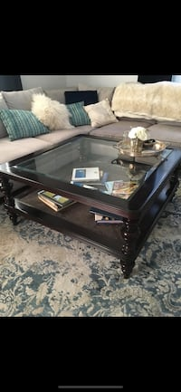 Large, Wood and Glass Coffee Table