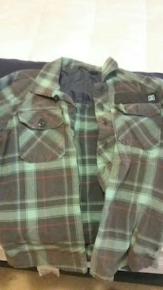 brown and green checkered DC Shoes button down shirt