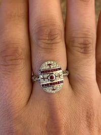 18k white gold Ruby's and diamonds size 9 Weymouth, 02191