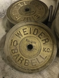"319lb. Standard 1"" weight plates and EZ curl bar - $0.70 per lb. Brampton, L7A 1J9"