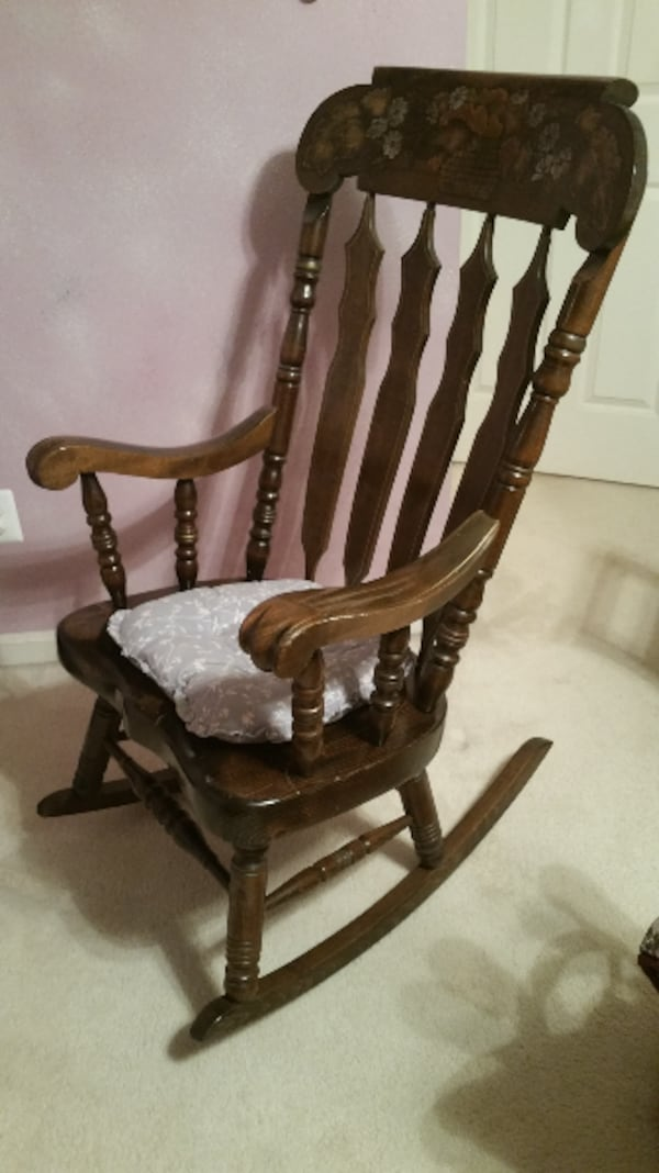 Furniture--Rocking Chair--Hardwood. Solid piece of furniture.   74d97c4e-603a-40ab-a170-04e85844a8cc
