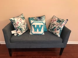 Blue Fabric upholstered bench