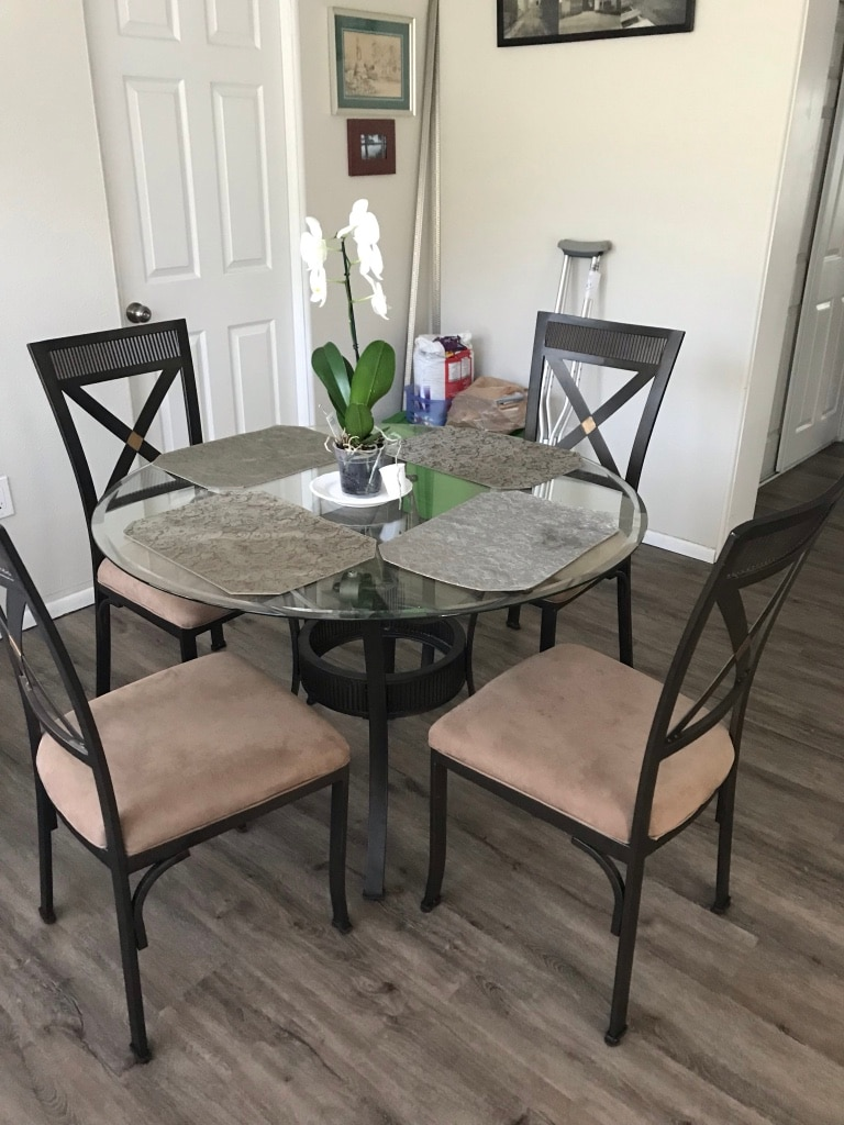 used round glass top table with four chairs dining set for sale in rh us letgo com