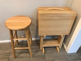 TV folding Snack Tray Tables and wooden stools