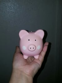 pink and white ceramic pig-themed coin bank Sacramento, 95842