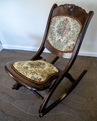 Antique Wood Folding Rocking Chair