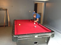 GLOBAL 3.5' X 7' red felt and black wood pool table Clearview