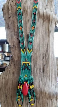 teal and red beaded necklace 2241 mi