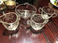 Vintage Corn Flower crystal creamer sugar bowl, 2 section bowl and 2 handle cup. Mint condition  Hamilton, L9A 1T3