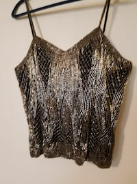 Silver  Beaded and black spaghetti strap crop top