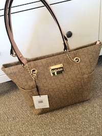 Brown monogrammed calvin klein tote bag