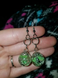 Light green Cracked marble earrings 733 mi