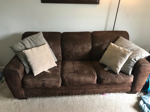 Brown Suede Sofa Set For In