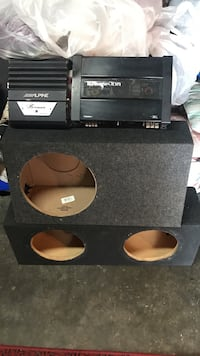 two black single-hole and 2-hole subwoofer enclosures Bellflower, 90706