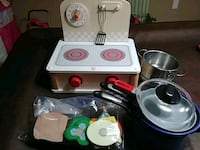 Toy stove top, assorted pans and some food. Ashburn, 20148
