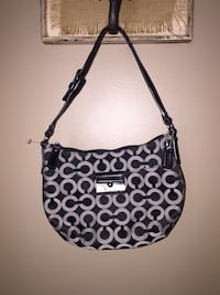 Coach Poppy Signature Shoulder Bag Purse Black Grey monogram Calgary, T3E 6L9