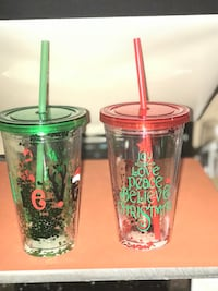 two red and green glass cups