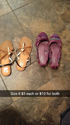 two pairs of women's sandals and flat shoes