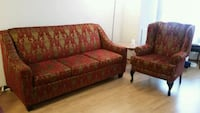 red and brown floral sofa set Toronto, M5G 2C4
