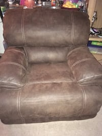 Used Dark Brown Suede Leather Electric Recliner Gently