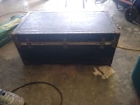 Antique trunk with brass hinges.