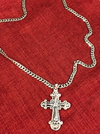 silver chain necklace with cross pendant