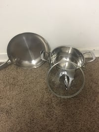 stainless steel skillet and cooking pot